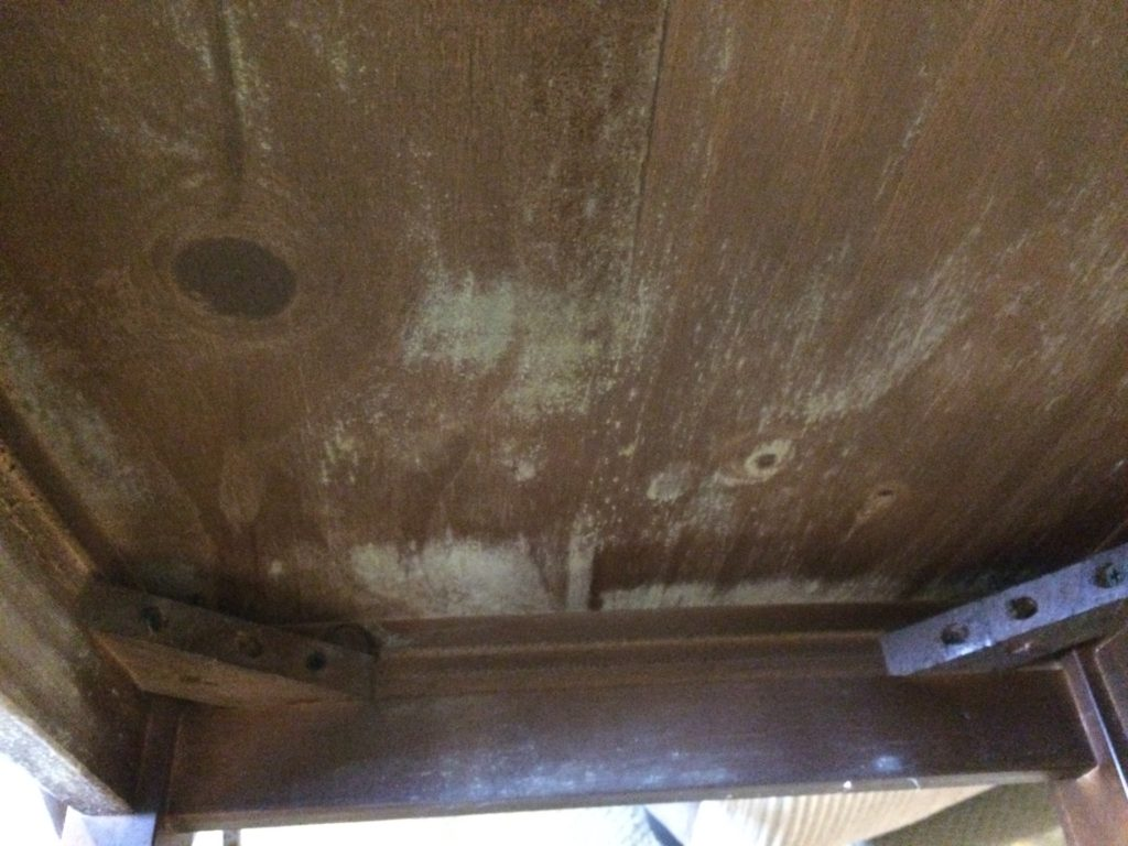 mould growing on wooden dining room table